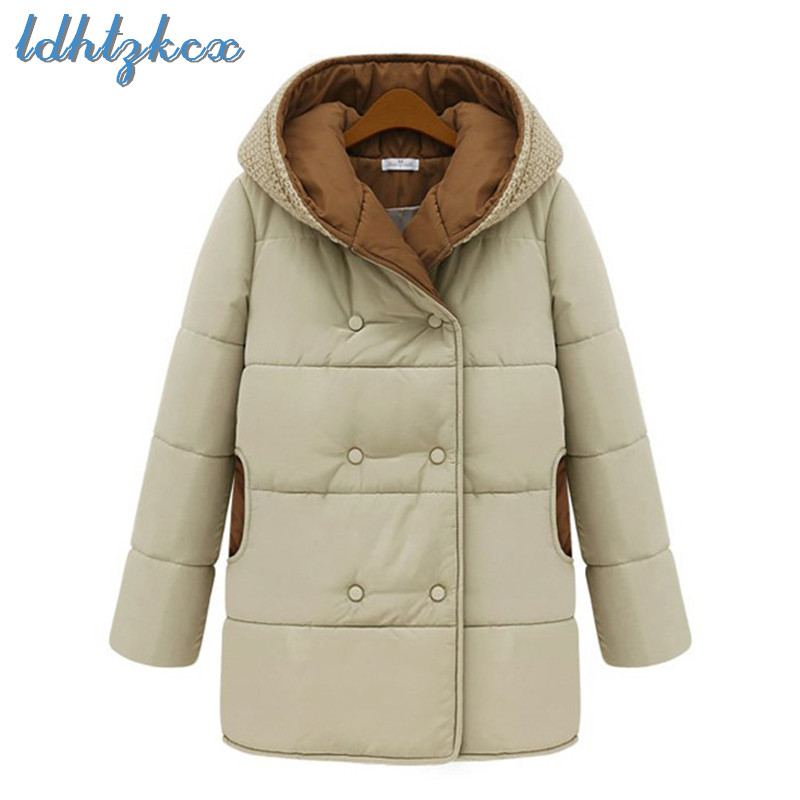 LDHTZKCX Europe-America Large Size Ladies Hooded   Parkas   2018 Winter New Fashion Casual Thick Warmth Pockets Chic Cotton Coat 504