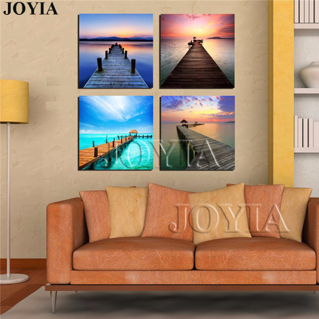 Modern Sea Scene Wall Art Multi Panel Canvas Paintings Seascape Wooden  Bridge Pier Pictures For Living