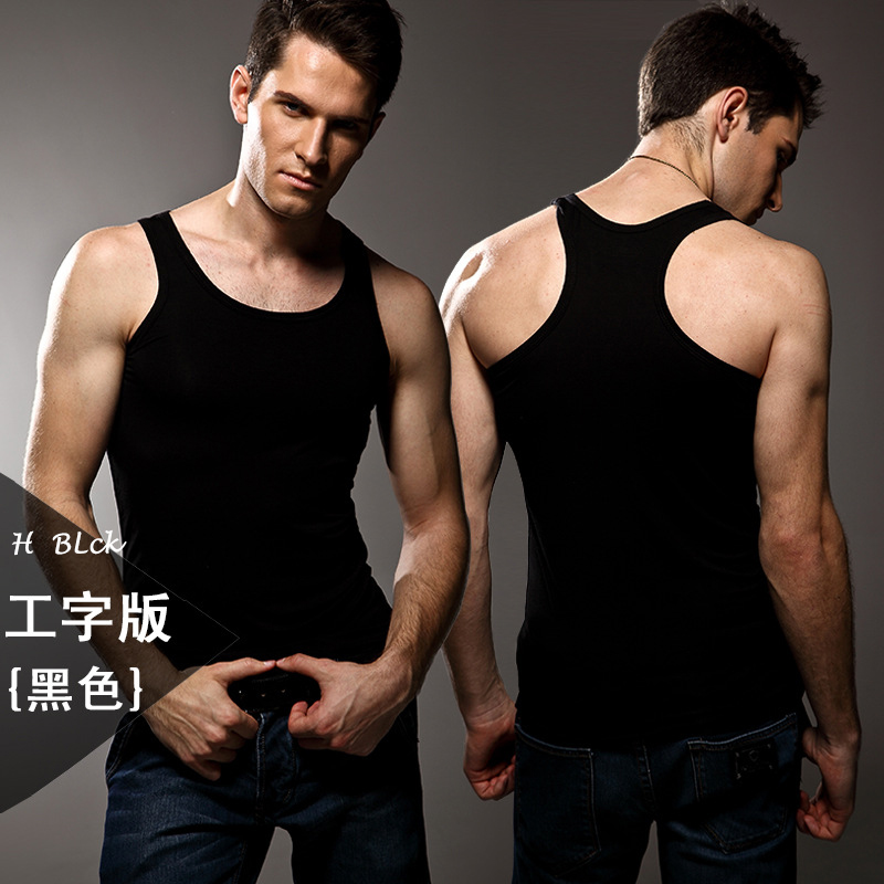 Image 3 - 3pcs High quality Men's modal Solid color underwear clothing close fitting vest lycra high elasticity broad shoulder undershirts-in Undershirts from Underwear & Sleepwears