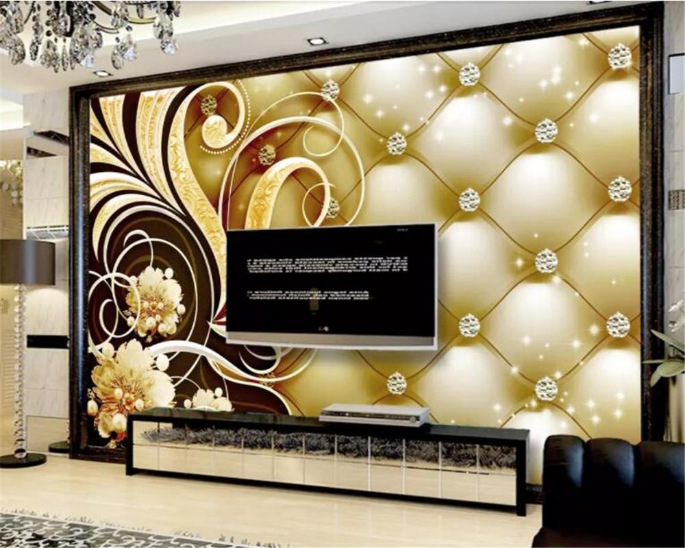 beibehang Custom photo wallpaper diamond soft bag flowers luxury living room sofa bedside table 3d wallpaper papier peint mural in Wallpapers from Home Improvement