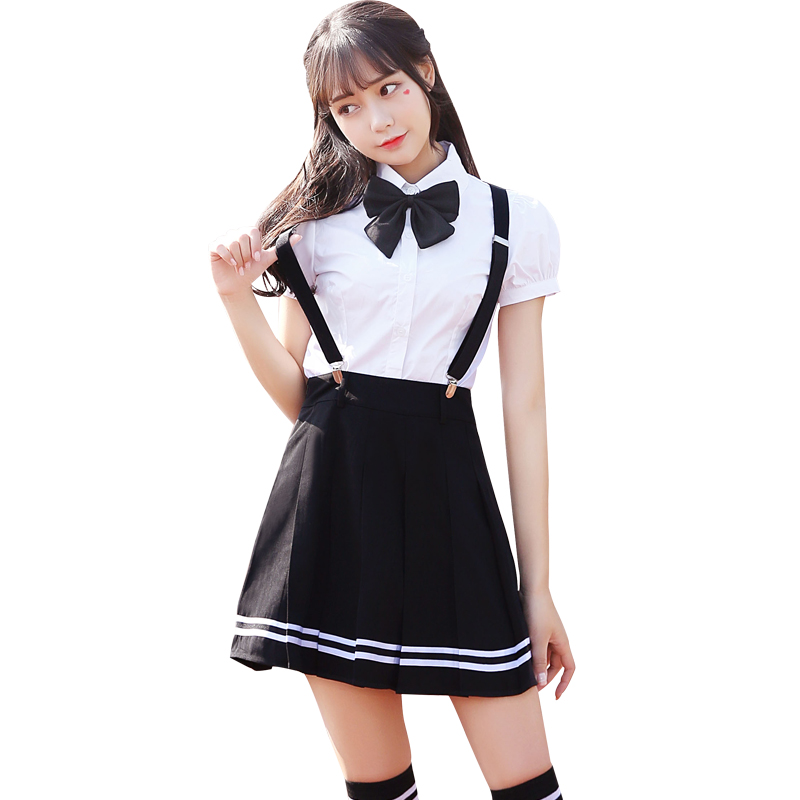 2020 Japanese School Uniforms Anime Cos Sailor Suit Tops+tie+skirt Jk Navy Style Students Clothes For Girl Short Sleeve
