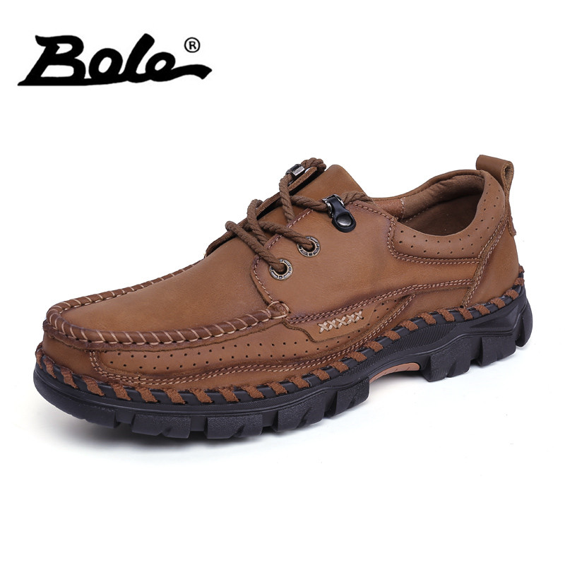 BOLE Genuine Leather Men Casual Shoes Real Rubber Sole Non-slip Sneakers for Men Lace Up Comfortable Men Shoes business men tie shallow mouth brown leather casual rivet shoes men s shoes round youth non slip rubber sole