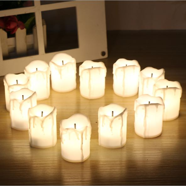 buy 12pcs Flameless LED candles white/red/yellow candle shape night light party weeding home bedroom decoration gift pic,image LED lamps deals