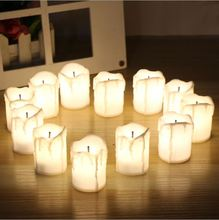 buy 12pcs Flameless LED candles white/red/yellow candle shape night light party weeding home bedroom decoration gift,image LED lamps offers