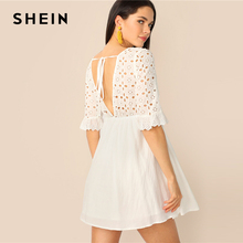 SHEIN Cutout Tie Back Schiffy Smock Dress White Half Sleeve V Neck Women Dresses 2019 Eyelet Embroidery Summer Dresses