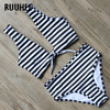 RUUHEE Swimwear Women Bikini Swimsuit Striped Bathing Suit High Waist Bikini Set 2017 Summer Female Beachwear