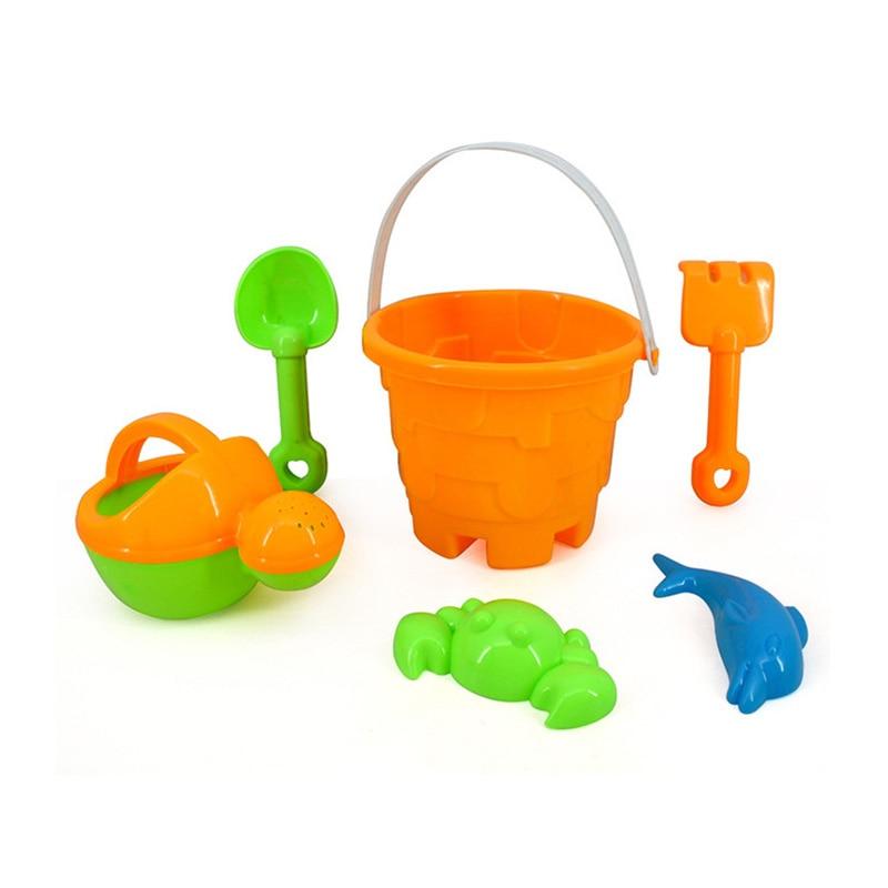 SLPF Summer Children Beach Toys Drowning Sand Mold For Sand Kids Baby House Shovel Kettle Bucket Set 6 Juguetes Playa Cubo G10