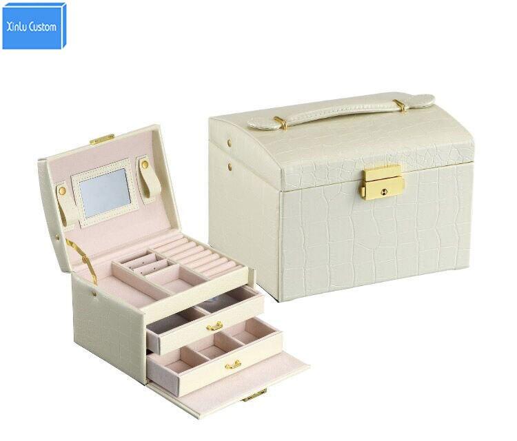 3 Слои с ящиком Для женщин часы/ювелирные изделия/Key/карты/аксессуары организаторы Сбор хранения зеркало кожа Спальня кожа рук дело