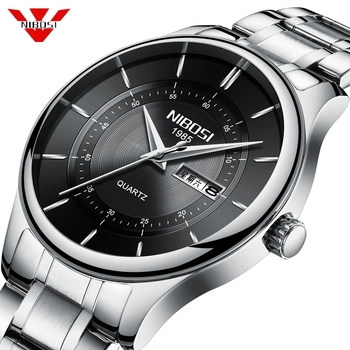 NIBOSI Mens Watches Top Luxury Brand Watch Men Stainless Steel Fashion Male Hours Business Quartz Watch Relogio Masculino Saat