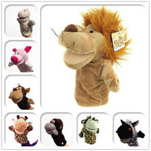 Classic Cute Carton Animal Hand Puppet Toys Plush Puppets Frog Pig Rabbit Tiger Monkey Bear Lion Doll Baby Toy Animals Toy(China)