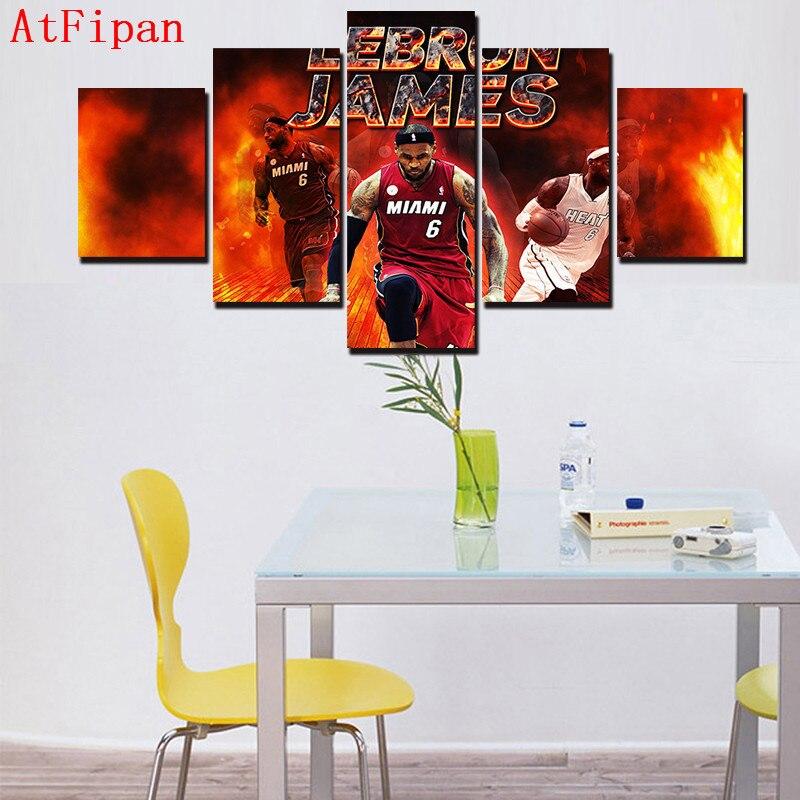 AtFipan Large HD Modular Paintings 5 Piece Abstract Modern Lebron ...