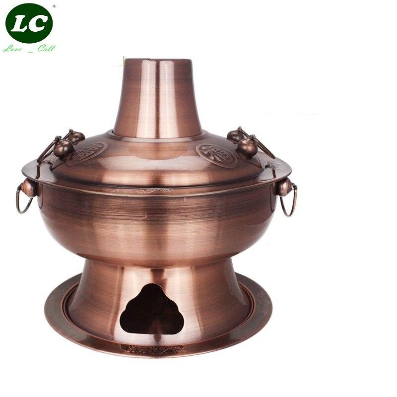Gril à charbon de bois plat à café pot chaud en acier inoxydable en cuivre Camping/usage domestique épaississement des pots à fondue