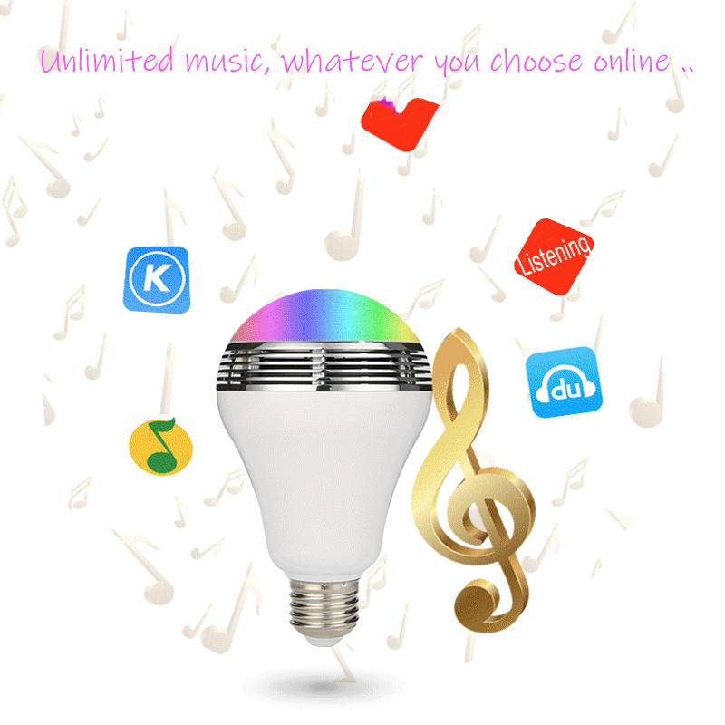 Intelligent Bulb Light LED 8W Bluetooth Speaker Music Playing RGBW E27 Lamp Dimmable Smart Cellphone Control GentelWay in LED Bulbs Tubes from Lights Lighting