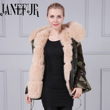 New fashion arrival 2016 UK beading long women jacket with beige color faux fur lining fox fur collar winter coat
