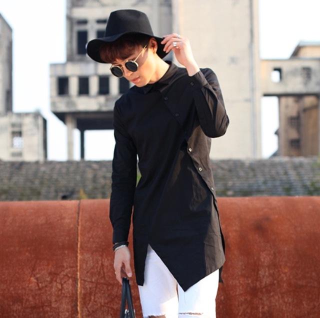 2017 Harajuku Moda Para Hombre Camisas de Marca de Diseño Irregular Camisas de Hombre de Manga Larga Delgado Camisas de Vestir de Los Hombres Camisa Casual Negro Blanco
