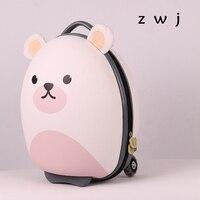 18 inch Cartoon bear Kids Suitcase Children Luggage EVA Cartoon Trolley Travel bag Korea kid rolling luggage