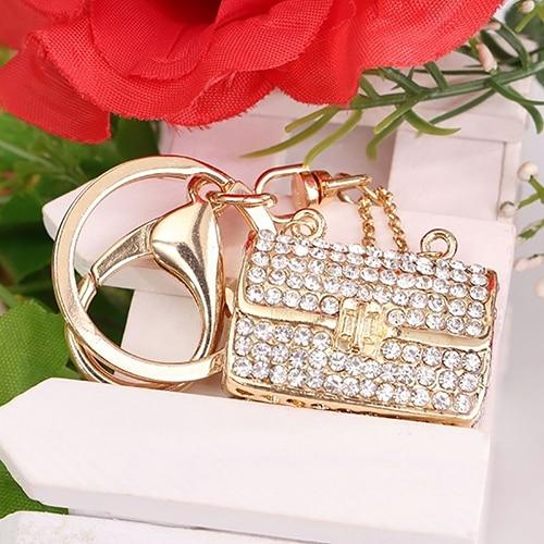 New Women Girl Shiny Rhinestone Handbag Purse Pendant Charm Key Ring Keychain