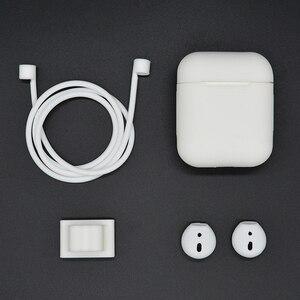 Image 3 - Funda de silicona 4 en 1 para Airpods, accesorios, correa de reloj, Correa antipérdida para Apple AirPods, auriculares inalámbricos