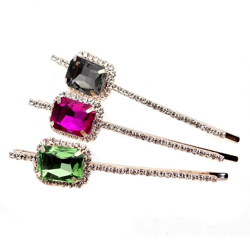 1 Para Luxus Sparkly Pink Grau Grün Kristall Haarspange Clip Platz Strass Grips Für Mädchen Frauen Mode Schmuck Angenehm Zu Schmecken