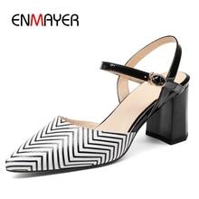 купить ENMAYER  Genuine Leather  Pointed Toe  Casual  Zapatos Mujer Tacon  Basic  High Square Heel  Women Shoes Heels Size 34-43 LY1279 дешево