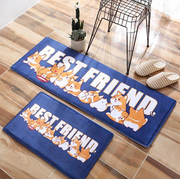 Cartoon Dog BEST FRIEND carpet home kitchen doormat Restroom Coral Fleece Living Room rug Children Kids Bedroom mat