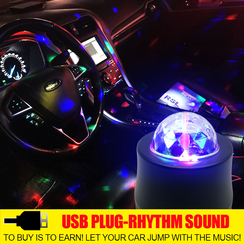 Car DJ Light LED Atmosphere Rotating Flash Multicolor Disco Bulb Lamp RGB Music USB For Party Decors Rhythm Styling Stage Effect