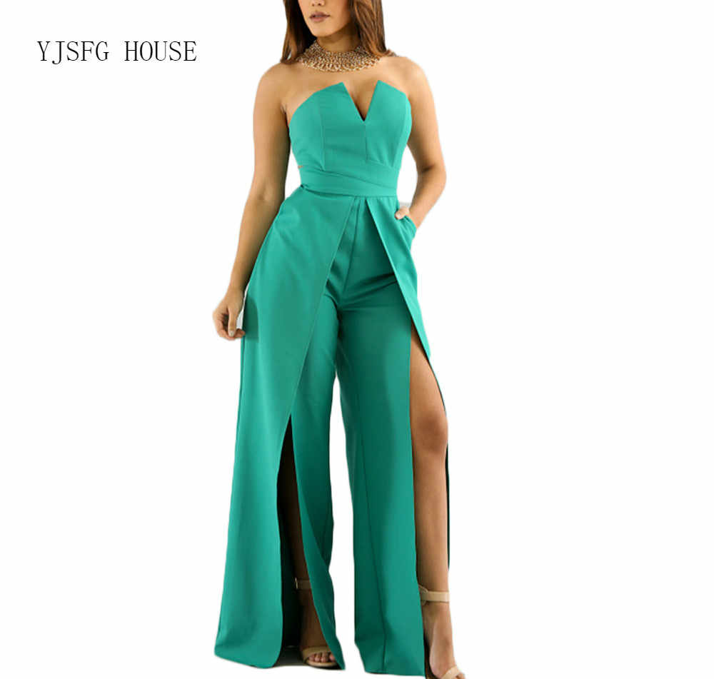 93c4332439f6 V-Neck Bodycon Evening Party Jumpsuits Sleeveless Off Shoulder Slim Office  Overalls for Women High