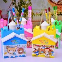 1 pc New cute cartoon Castle drawer set pen holder Child learning stationery storage pen holder Desk Accessories storage box