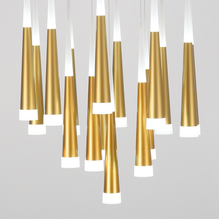 Post-modern minimalist living room LED chandelier conical meteor shower Rotating stair-lit living room LED chandelier