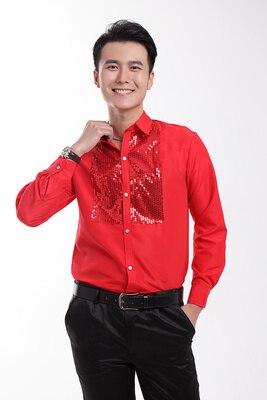 Бесплатная доставка красный смокинг рубашки партия/событие рубашки красные блестки блеск украшения