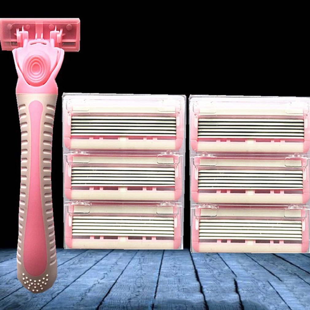 Manuelle Bart Rasierer Manuelle Hand Sicherheit Rasiermesser 10 Pcs 6-schicht Klinge Abs Griff Anti-slip Griff Tragbare Heimgebrauch Knitterfestigkeit