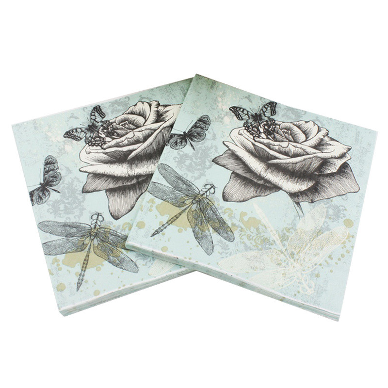 Vintage Printed Rose Flower Dragonfly Paper Napkins For Event & Party Decoration Tissue Decoupage 33cm*33cm 20pcs/pack/lot