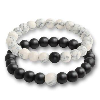 2 Pcs/set Fashion Couple Tiger Eye Stone Bracelets Bangles Classic Black White Natural Lava Stones Charm Bead Bracelet Women Men 4