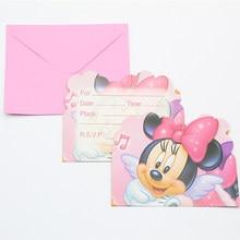 6pc/set invitation card birthday holiday bag toy minnie them