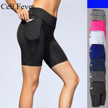 Womens Running Shorts 5 High Waist Out Pocket Yoga Tummy Control Gym Workout Sport Compression Bike Non See-Thro