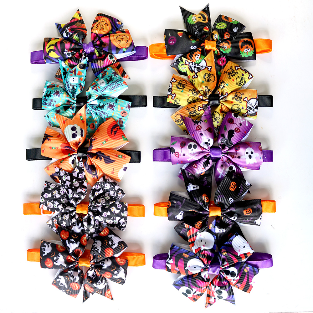 50/100pc Halloween Dog Bow Tie Skull Pet Products Dog Accessories Pet Dog Bowtie Cute Bow Tie Dog Pet Cat Holiday Supplies