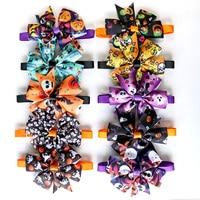 New 50/100pc Halloween Dog Accessories Skull Pumpkin Pet Cat Puppy Bowties Collar Cute Halloween Decoration Products