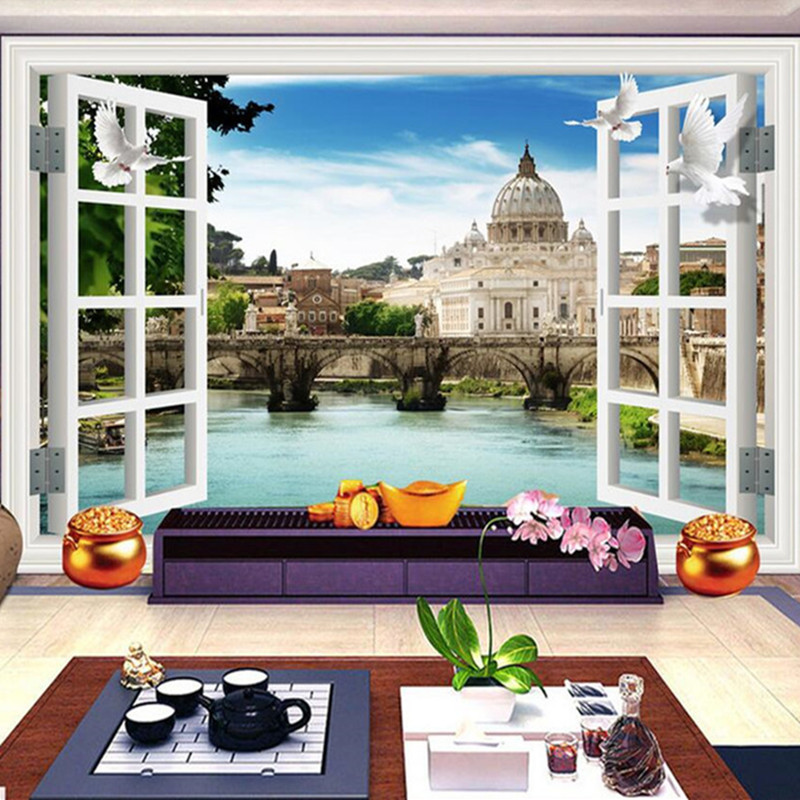 Custom 3D Stereo Wallpaper Murals Window Outside European Scenery Living Room TV Wall Decoration Painting papel de parede 3d kate 10ft european oil painting scenery