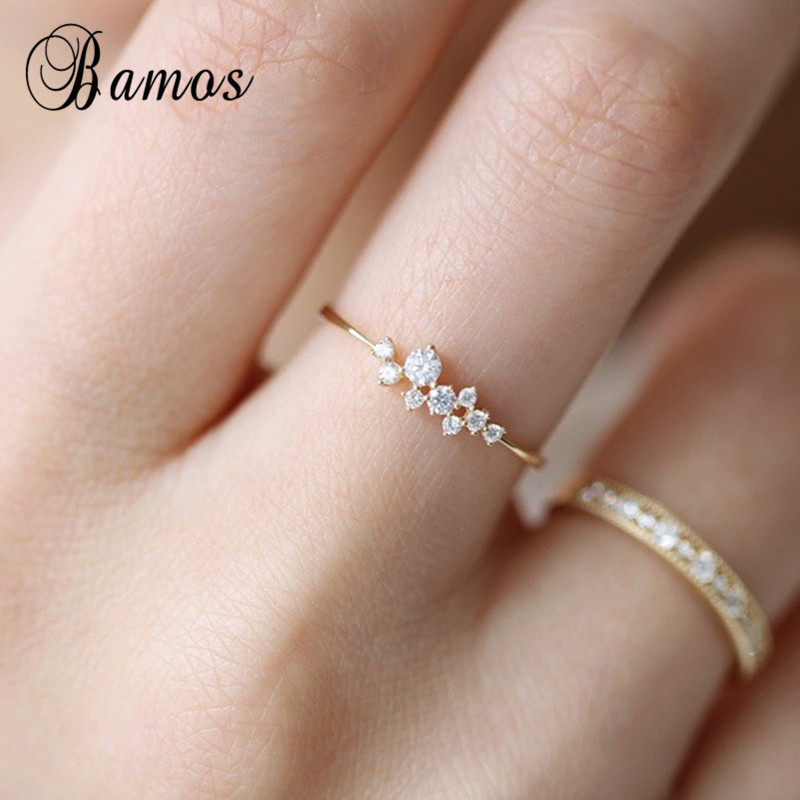 Bamos Dainty Zircon Stone Finger Ring Gold Filled Stackable Engagement Rings Fashion Wedding Bands For Women Minimalist Jewelry engagement ring
