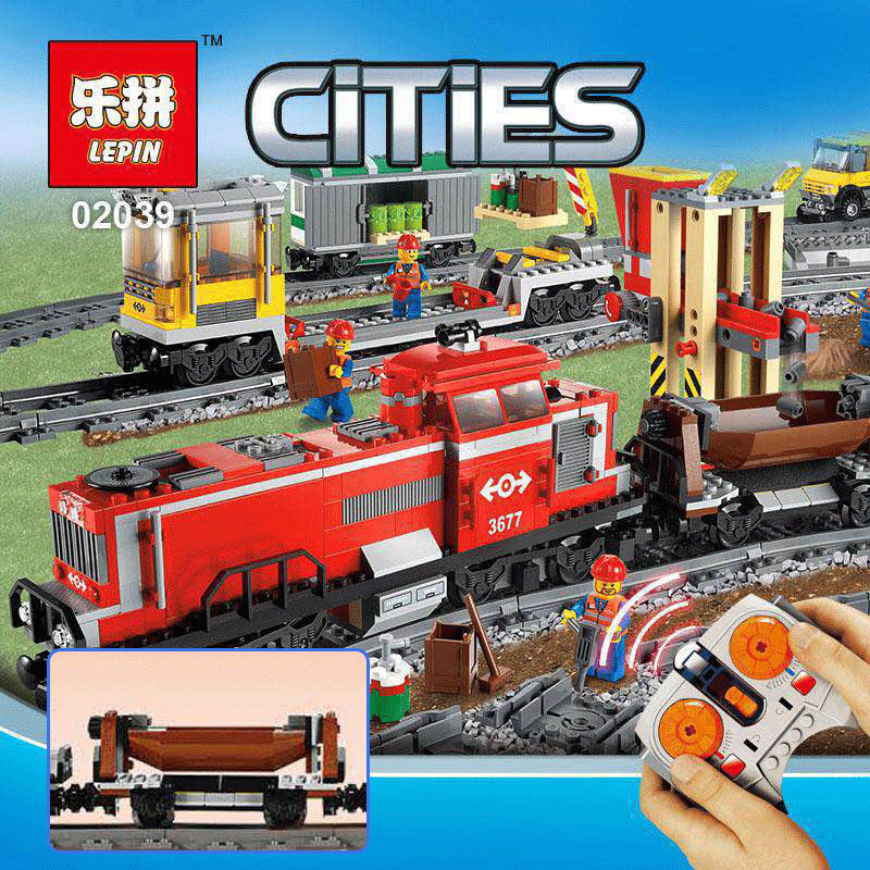 LEPIN 02039 898pcs City Red Cargo Train Building Brick Blocks RC Train Model educational Toys for children Gifts Compatible 3677 lepin 02012 city deepwater exploration vessel 60095 building blocks policeman toys children compatible with lego gift kid sets