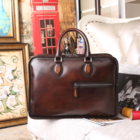 Handmade Leather Briefcases For Men Attache 15 Inch Laptop Case Office Work Bags Double Zip Open