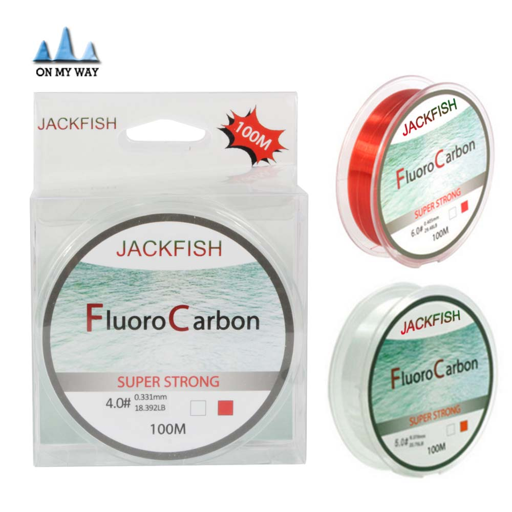 100m Fluorocarbon Fishing Line Two Colors Red Clear 4 32lb Carbon Fiber Leader Line Fly Fishing