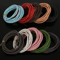 Dia 3mm Braided Genuine 2Meters Round Cord Real Leather Rope String Cord Rope String Fit Jewelry Findings DIY Craft Making