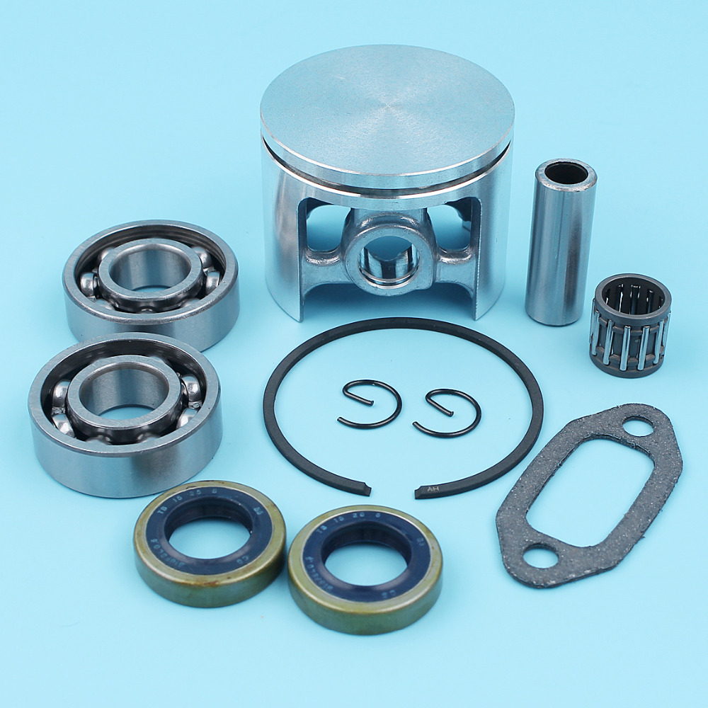 50mm Crank Bearing Piston Kit For Jonsered 630 670 Super II Champ Chainsaw Ball Gear Oil Seal Needle Cage Muffler Gasket Spare