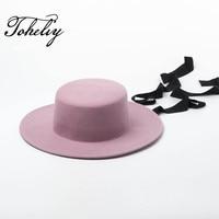 New Style Autumn Winter tie Hats For Women Soft Wide Brim Wool Felt Bowler Fedora Hat Floppy Cloche Women's hat