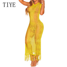 купить TIYE New Fashion Hand Crochet Hollow Out Knited Dresss Sexy See Through Sleeveless Maxi Slim Dress Elegant Party Fringe Dresses дешево