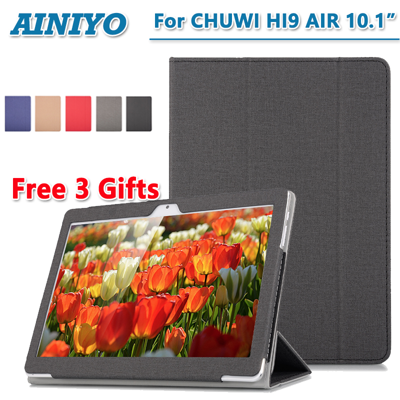 For Chuwi Hi9 air Tablet Case PU Leather Folding Stand Cover for 10.1'' Chuwi Hi9 Air+Stylus Pen+Screen Film