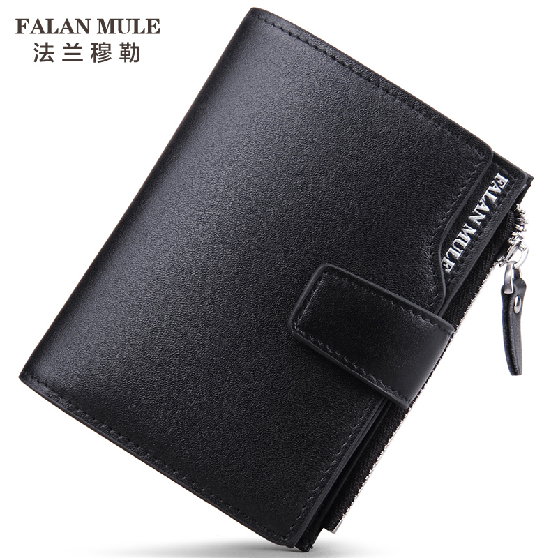 FALAN MULE 2016 Real Leather Wallet Luxury Brand Hasp Wallet Men Large Capacity Portfolio Thin Slim