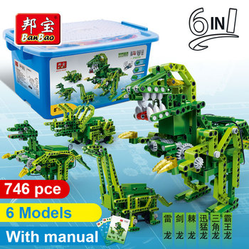 BanBao 6 In 1 Dinosaur Voice Control Jurassic World Technic Bricks Educational Model Building Blocks For Children Kids Toy 6916