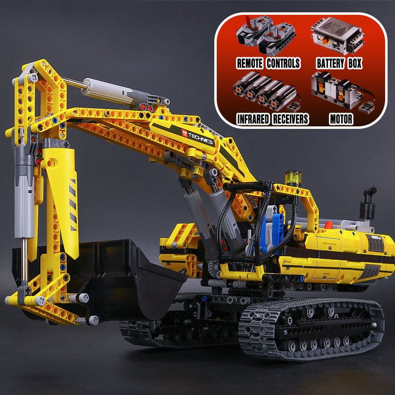 children motorized excavator building blocks bricks volvo. Black Bedroom Furniture Sets. Home Design Ideas